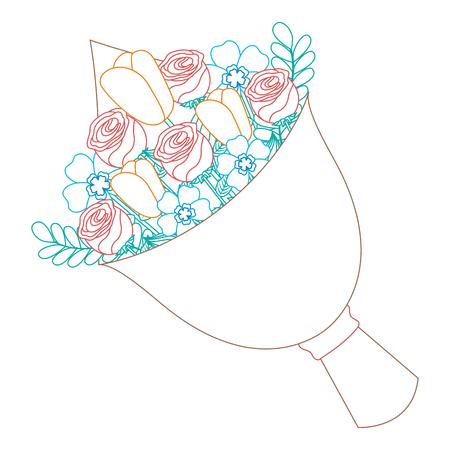 cute floral bouquet fresh flowers wrapped vector illustration color line image
