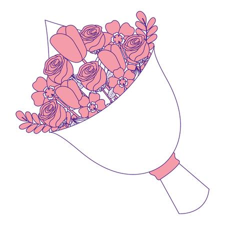 cute floral bouquet fresh flowers wrapped vector illustration pink image design Illusztráció