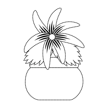 Cute flower decorative in pot vector illustration design Stock Vector - 94487524
