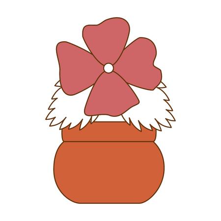 Cute flower decorative in pot vector illustration design