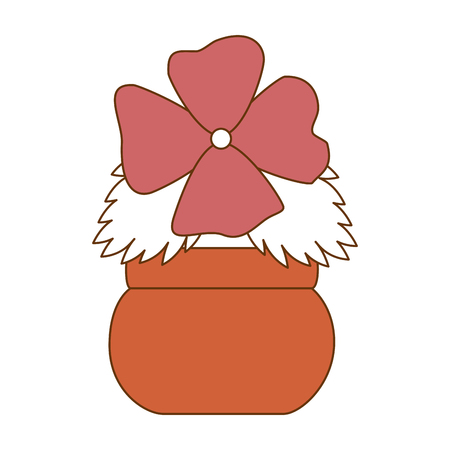 Cute flower decorative in pot vector illustration design