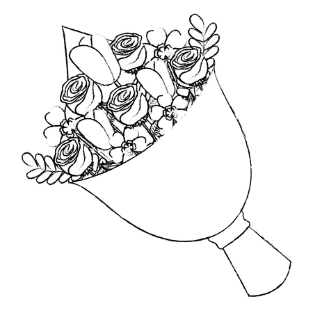 cute floral bouquet fresh flowers wrapped vector illustration sketch image