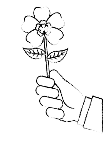 Hand Holding Beautiful Flower Nature Vector Illustration Sketch