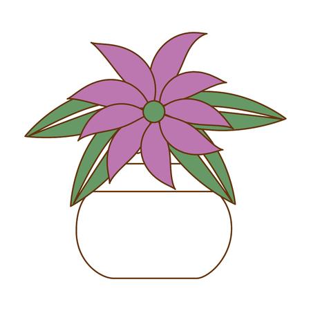 cute flower decorative in pot vector illustration design Illustration