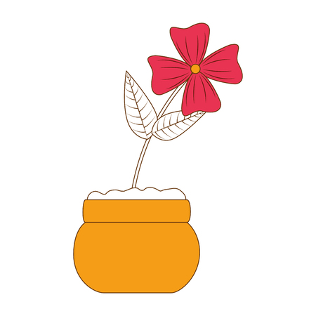 cute flower decorative in pot vector illustration design Illustration