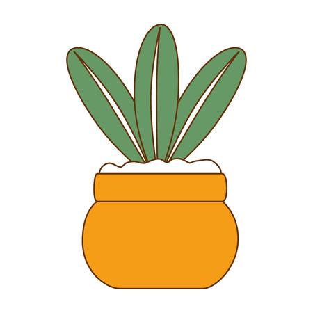 Cute leafs decorative in pot vector illustration design