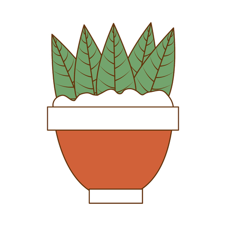 Cute leafs decorative in pot vector illustration design
