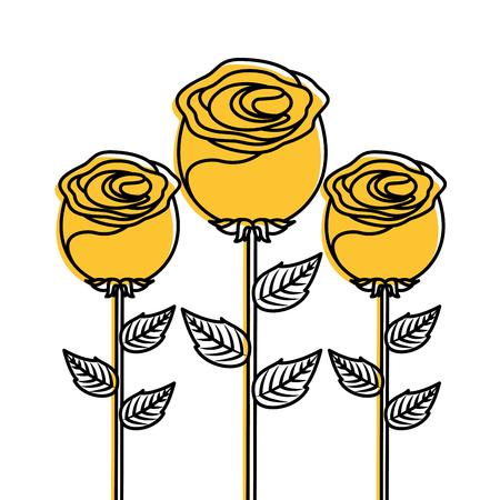 decoratie drie stengel bloemblad bloemblad botanische vector illustratie Stock Illustratie