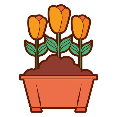 Flowers in pot gardening spring decoration vector illustration Stock Vector - 94605657