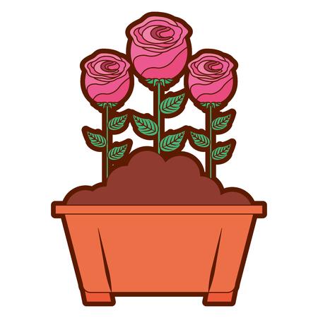 flowers in pot gardening spring decoration vector illustration Illustration