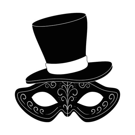 紳士帽子ベクトルイラストデザインのカーニバルマスク