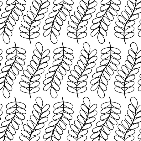 branch leaves foliage frond natural pattern vector illustration