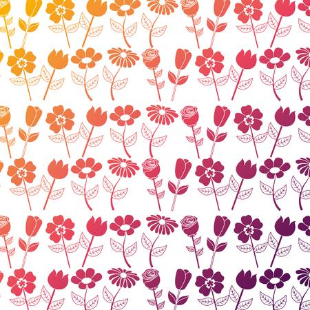 seamless pattern design floral flower stem ornament vector illustration Ilustração
