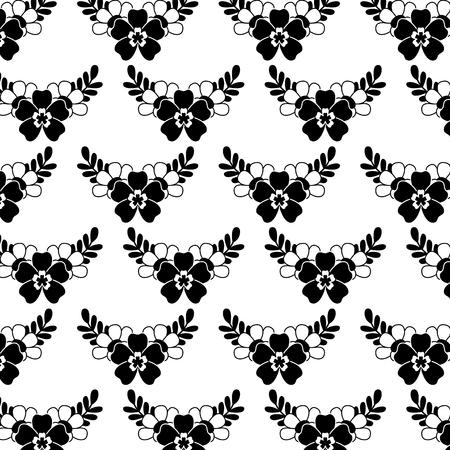 繊細なシームレスな花柄の花葉ベクトルイラスト黒画像白背景