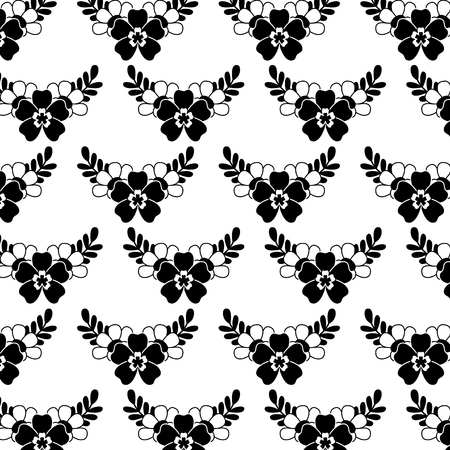 delicate seamless floral pattern flower leaves vector illustration black image white background