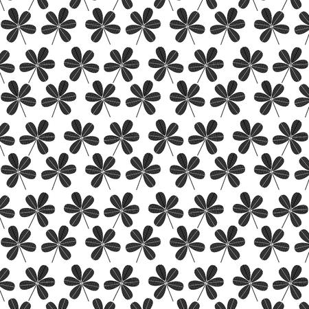 Flower seamless stem spring floral pattern vector illustration black image white background.