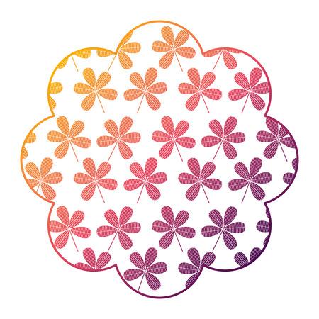 label floral pattern flower stem spring decoration vector illustration bright gradient color design