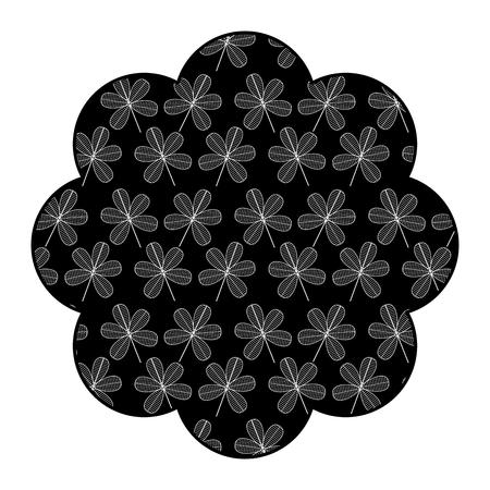 Label floral pattern flower stem spring decoration vector illustration black background