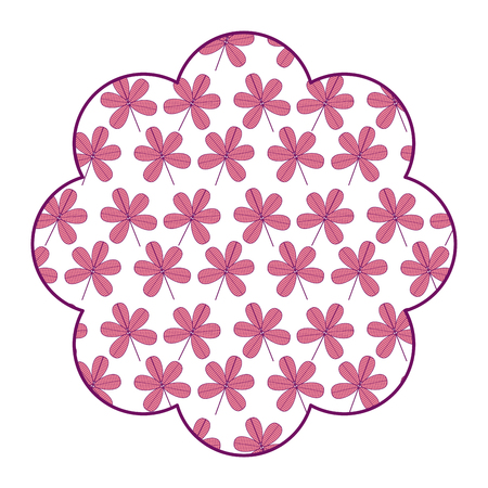 label floral pattern flower stem spring decoration vector illustration pink design