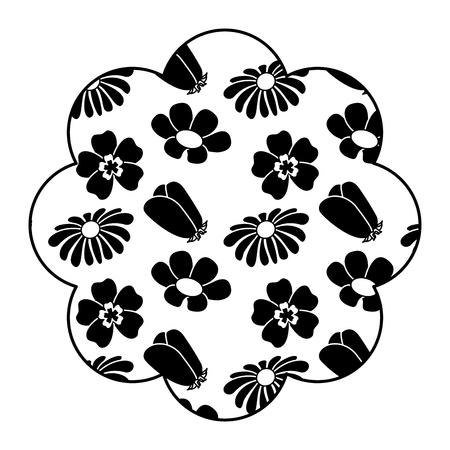 Beschriften Sie Blumenmuster differents Blumen Frühlingsthema-Vektorillustrationsschwarzbild weißes bracground Standard-Bild - 94469315