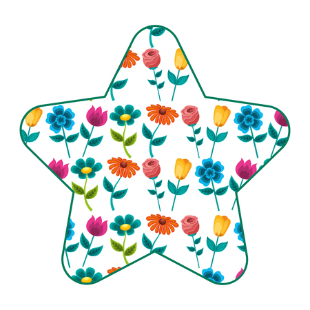 Cute star pattern flower petal stem spring style vector illustration