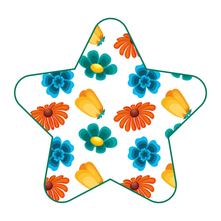 cute star pattern differents flowers spring theme vector illustration Illustration