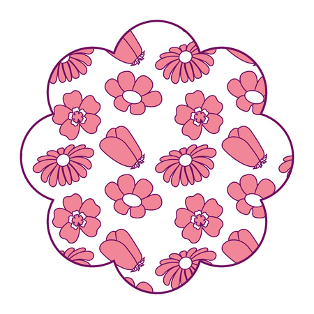label floral pattern differents flowers spring theme vector illustration pink design