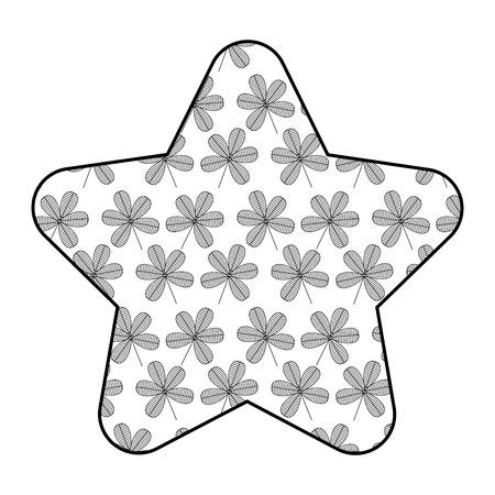 cute star pattern flower stem spring decoration vector illustration outline design