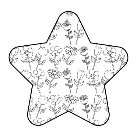 cute star pattern flower petal stem spring style vector illustration outline design