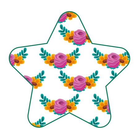 cute star pattern delicate seamless flower leaves vector illustration