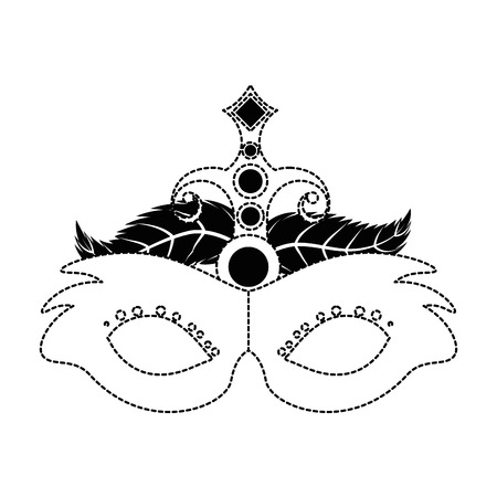 carnival mask with feathers vector illustration design