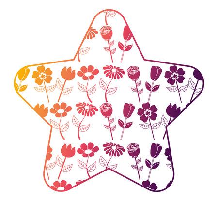 cute star pattern flower petal stem spring style vector illustration bright gradient color design Illustration