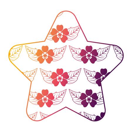 Motivo a stelle carino delicato fiore senza soluzione di continuità lascia illustrazione vettoriale brillante design del colore sfumato Archivio Fotografico - 94470654