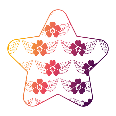 cute star pattern delicate seamless flower leaves vector illustration bright gradient color design