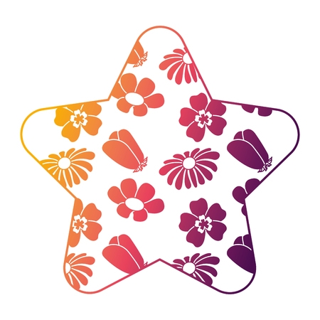 cute star pattern differents flowers spring theme vector illustration bright gradient color design