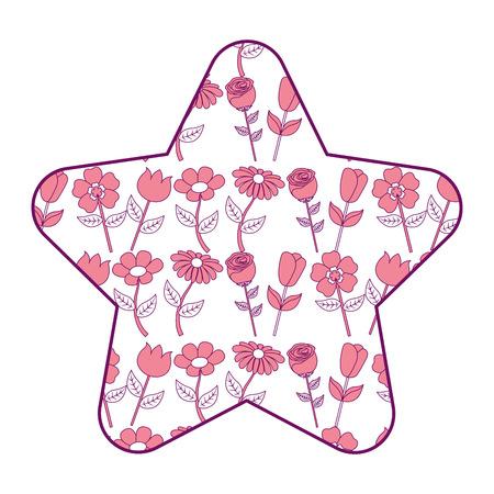 cute star pattern flower petal stem spring style vector illustration pink design