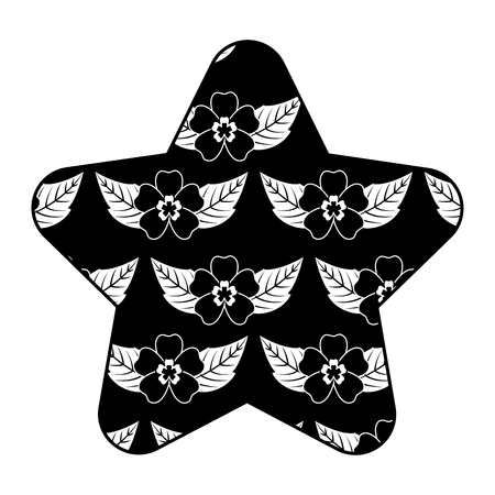 cute star pattern delicate seamless flower leaves vector illustration black background Çizim