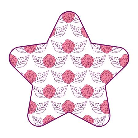 cute star pattern delicate seamless flower leaves vector illustration pink design Illustration