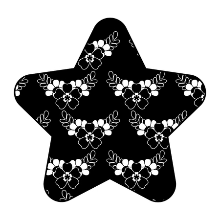cute star pattern delicate seamless flower leaves vector illustration black background Ilustração