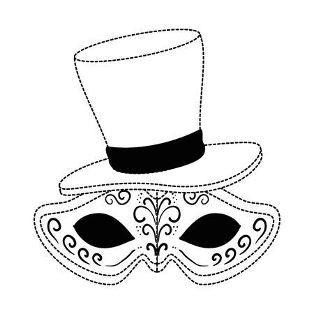 carnival mask with gentleman hat vector illustration design