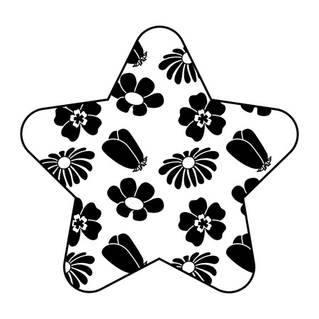 cute star pattern differents flowers spring theme vector illustration black image white bracground Illustration