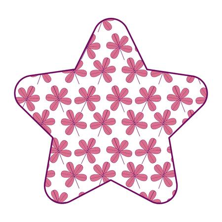 cute star pattern flower stem spring decoration vector illustration pink design Illustration
