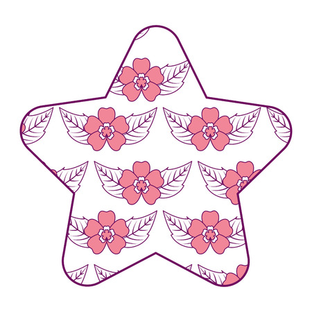 cute star pattern delicate seamless flower leaves vector illustration pink design Çizim