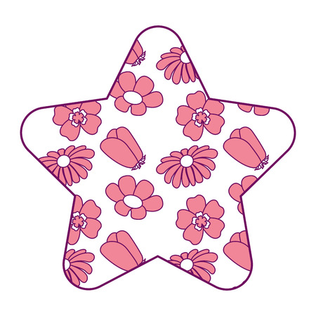 cute star pattern differents flowers spring theme vector illustration pink design