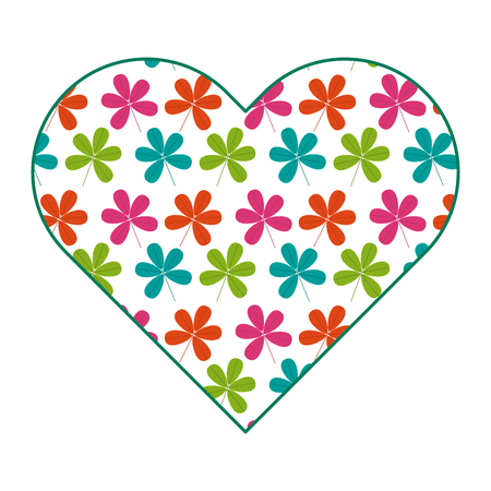 heart floral ornament flower stem spring decoration vector illustration
