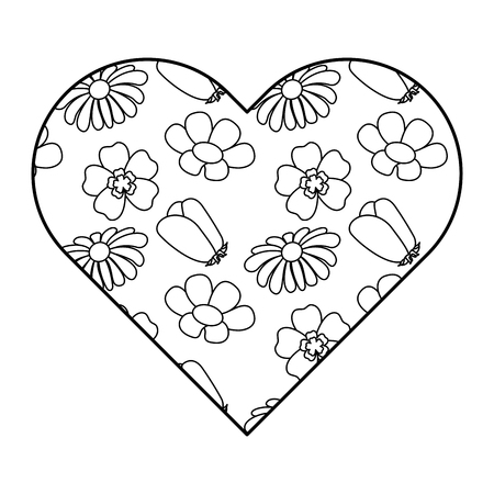 Heart floral ornament different flowers spring theme vector illustration outline image