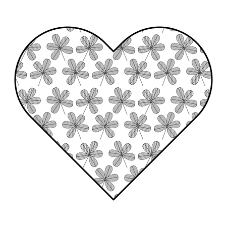 heart floral ornament flower stem spring decoration vector illustration outline image