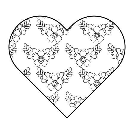 Heart floral ornament pattern delicate seamless flower leaves vector illustration outline image Ilustração