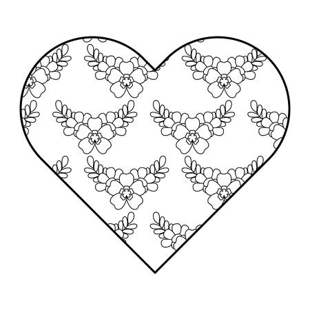 Heart floral ornament pattern delicate seamless flower leaves vector illustration outline image Çizim