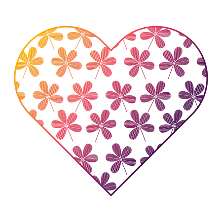 Heart floral ornament flower stem spring decoration vector illustration bright gradient color
